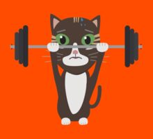 Fitness cat weight lifting   Kids Tee