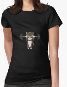 Fitness cat weight lifting   Womens Fitted T-Shirt