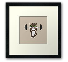 Fitness cat weight lifting   Framed Print
