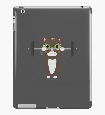 Fitness cat weight lifting   iPad Case/Skin