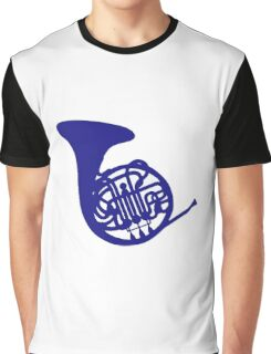 Blue french horn Graphic T-Shirt