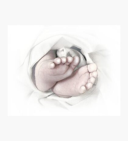 Baby feet pencil sketch Photographic Print