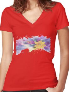 Yellow Lily in A Watercolor Garden Women's Fitted V-Neck T-Shirt