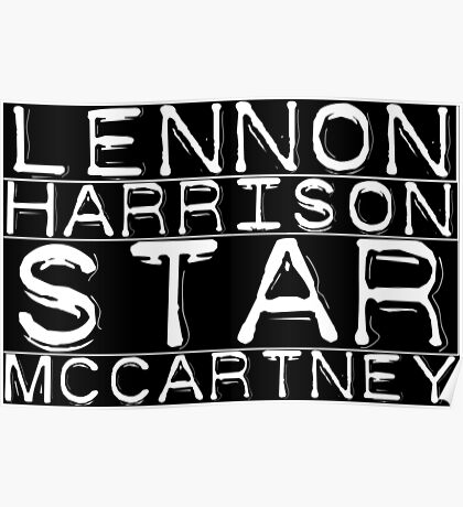 The Beatles Lennon Harrison Starr McCartney Poster