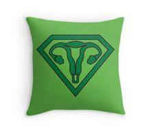 Uterus Hero Green Throw Pillow