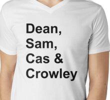 Dean, Sam, Cas & Crowley Supernatural Mens V-Neck T-Shirt