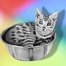 Bengal Cat in a Bowl, Pencil Drawing on Coloured Background by Joyce Geleynse