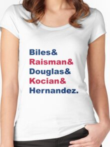 USA Gymnastics Team Names 2 Women's Fitted Scoop T-Shirt