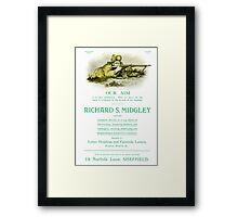 Advertisement for Richard S. Midgley, Printers, 14 Norfolk Lane, Sheffield, c. 1900 Framed Print