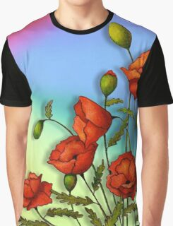 Red Poppies on Colourful Background, Colour Pencil Art, Flowers Graphic T-Shirt