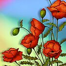Red Poppies on Colourful Background, Colour Pencil Art, Flowers by Joyce Geleynse