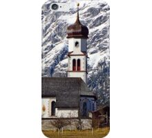Small church and the huge rock wall in the background iPhone Case/Skin