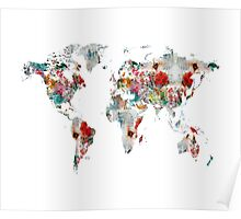 world map watercolors Poster