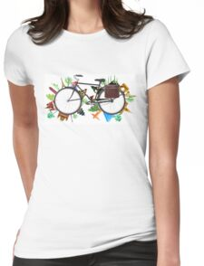 Global Bicycle round the world - save the planet design Womens Fitted T-Shirt