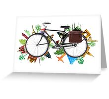 Global Bicycle round the world - save the planet design Greeting Card