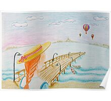 Young girl and color balloons Poster