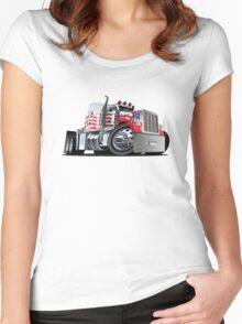 Cartoon Semi Truck Women's Fitted Scoop T-Shirt