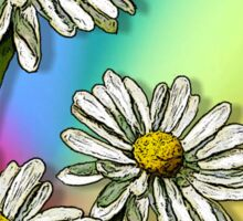 Three Daisies on Mulit-Colour Background, Flowers, Art Sticker