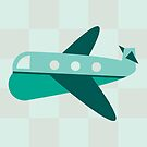 Teal Checkered Plane by Amy Huxtable