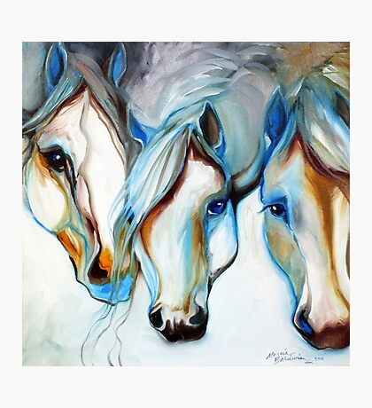 THREE WILD HORSES IN ABSTRACT by Marcia Baldwin Photographic Print