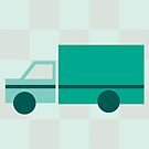 Teal Checkered Truck by Amy Huxtable