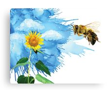 Polygon Bee, Real Sunflower, Alcohol Sky Canvas Print