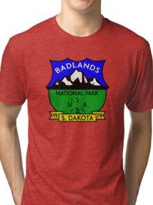BADLANDS NATIONAL PARK SOUTH DAKOTA USA MOUNTAINS HIKING CAMPING HIKE CAMP HUNTING Tri-blend T-Shirt