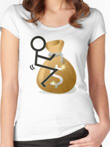Fuck The Money Cool Funny Icon  Women's Fitted Scoop T-Shirt