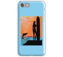 SURFER GIRL WITH LEAPING DOLPHIN iPhone Case/Skin