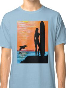 SURFER GIRL WITH LEAPING DOLPHIN Classic T-Shirt