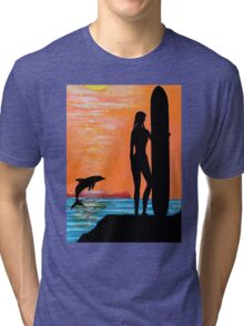 SURFER GIRL WITH LEAPING DOLPHIN Tri-blend T-Shirt