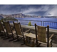 A Seat With a View - Crater Lake National Park Photographic Print
