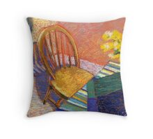 Orange interior with a chair  Throw Pillow
