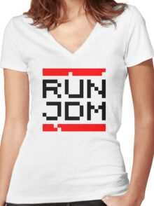 RUN JDM (1) Women's Fitted V-Neck T-Shirt