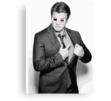 Nathan Fillion - 3D Glasses Canvas Print