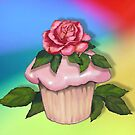 Cupcake with Pink Rose on Multi-Colour Background, Art by Joyce Geleynse