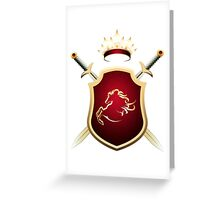 Coat of Fame with two swords and Crown Greeting Card
