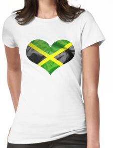 Jamaica Flag Love Heart Womens Fitted T-Shirt
