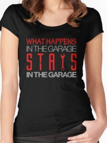 What happens in the garage Stays in the garage (3) Women's Fitted Scoop T-Shirt