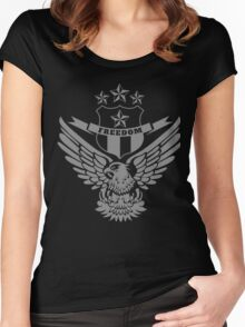 Freedom Crest -Grey Women's Fitted Scoop T-Shirt
