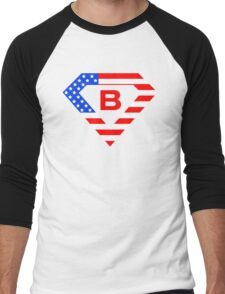 Super alphabet letter with USA flag Men's Baseball ¾ T-Shirt