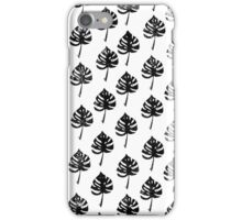 Monstera leaf, lino cut printed pattern, nature inspired, handmade, black and white iPhone Case/Skin