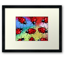 Ladybugs, Ladybirds on Brightly Coloured Background, Art Framed Print