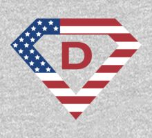 Super alphabet letter with USA flag Baby Tee