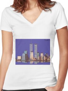 Memoirs of the World Trade Center Women's Fitted V-Neck T-Shirt