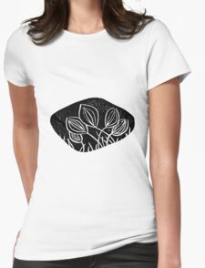 Meadows, grassland, lino cut printed pattern, nature inspired, handmade, black and white Womens Fitted T-Shirt