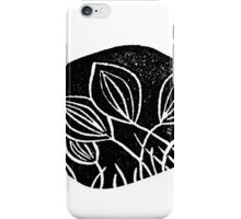 Meadows, grassland, lino cut printed pattern, nature inspired, handmade, black and white iPhone Case/Skin