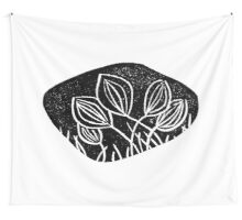 Meadows, grassland, lino cut printed pattern, nature inspired, handmade, black and white Wall Tapestry