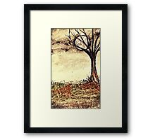 Watercolour winter landscape Framed Print