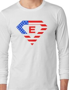 Super alphabet letter with USA flag Long Sleeve T-Shirt